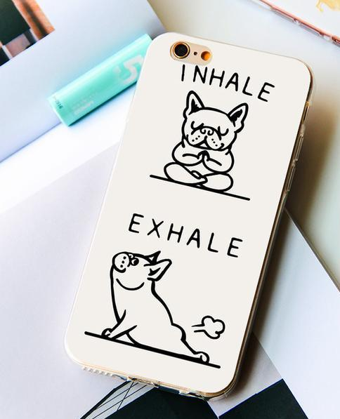 French Bulldog Inhale Exhale Pets iPhone Case.
