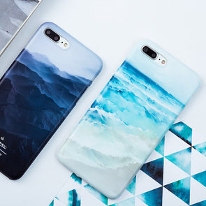 Blue Beach Mountain Scenery iPhone Case