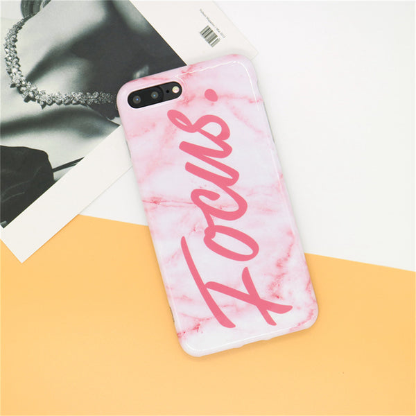 'Focus' Pink Marble iPhone Case