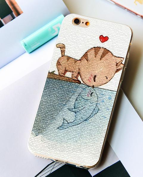 Cat Kissing Fish Pets iPhone Case