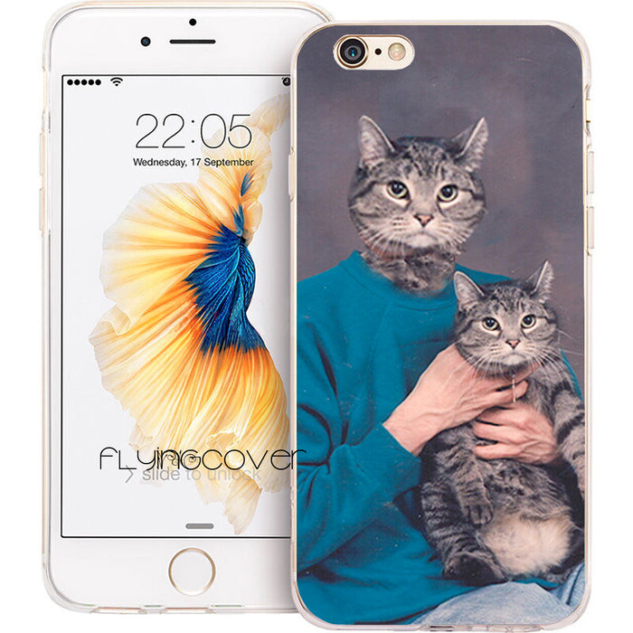 Funny Man With Cat Face Pets iPhone Case
