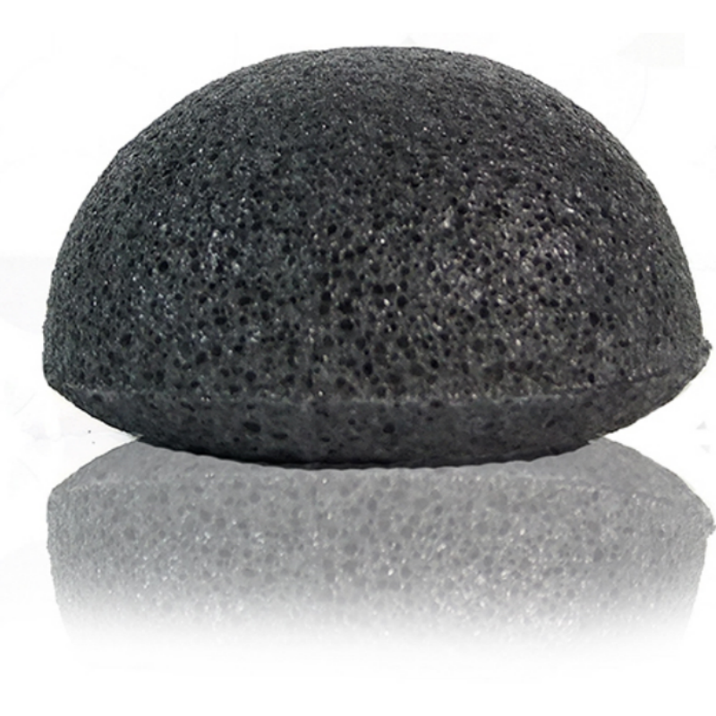 Unpackaged Eco Konjac sponge - Bamboo Charcoal Infused for Acne-Prone Skin / Vegan Natural Zero-Waste - Alcome.Co