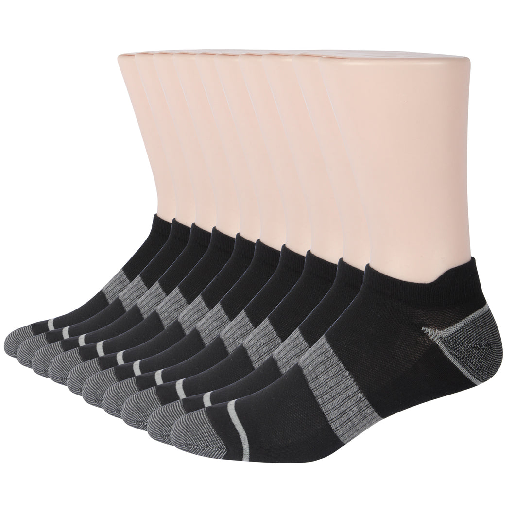 Black Men no show socks-low cut athletic socks-Spring Summer Autumn Pack of 10
