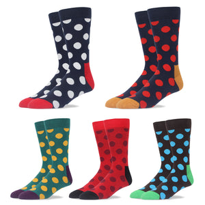 RioRiva Men Dress Socks Big Dot -Big & Tall Fun Designed Patterned Colorful