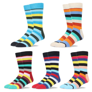 RioRiva Men Dress Socks Colored Stripe -Big &Tall Fun For Dress Shoe