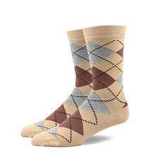 RioRiva | Wide Mid Calf Tube Socks | Designer Mens Business Socks Grey argyle