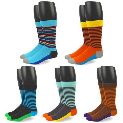 RioRiva Men Dress Socks Striped colored -Big & Tall Fun Designed Patterned Colorful