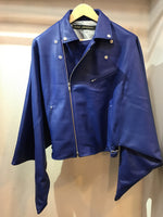 Moto jacket leather haori BLUE ライダースジャケット