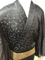 Kimono black double chiffon black dot and geometric