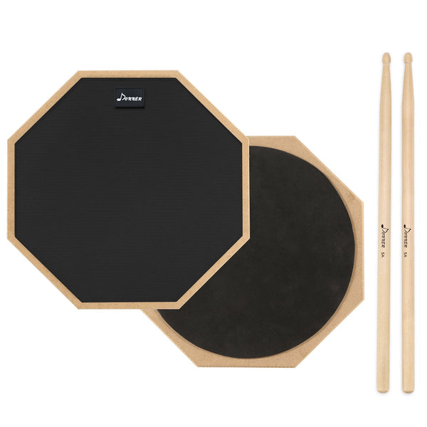 Black Donner 12 Inches Drum Practice Pad With Drum Sticks