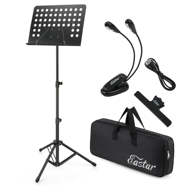 Eastar Folding Sheet Music Stand Kit With Light & Carrying Bag