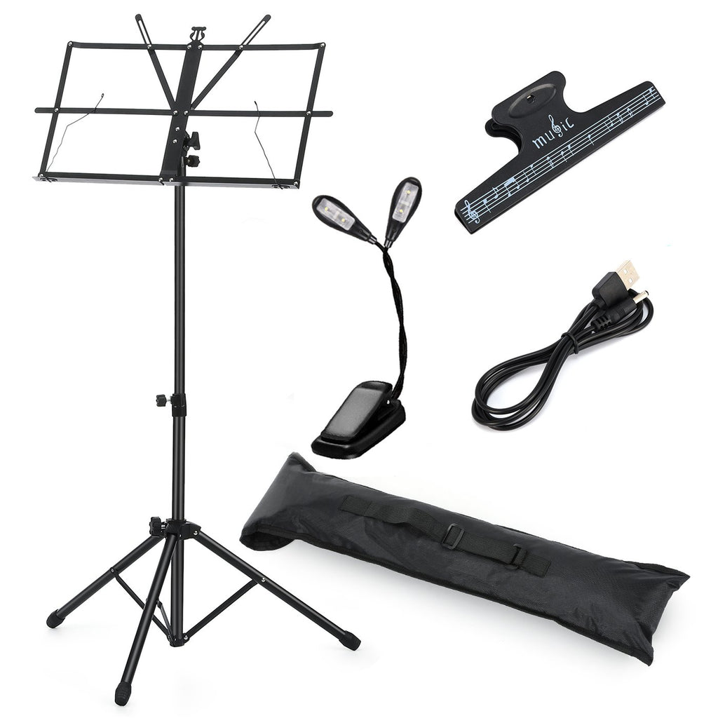 Moukey Sheet Music Stand MMS-1: Portable Folding Metal Music Stand Kit