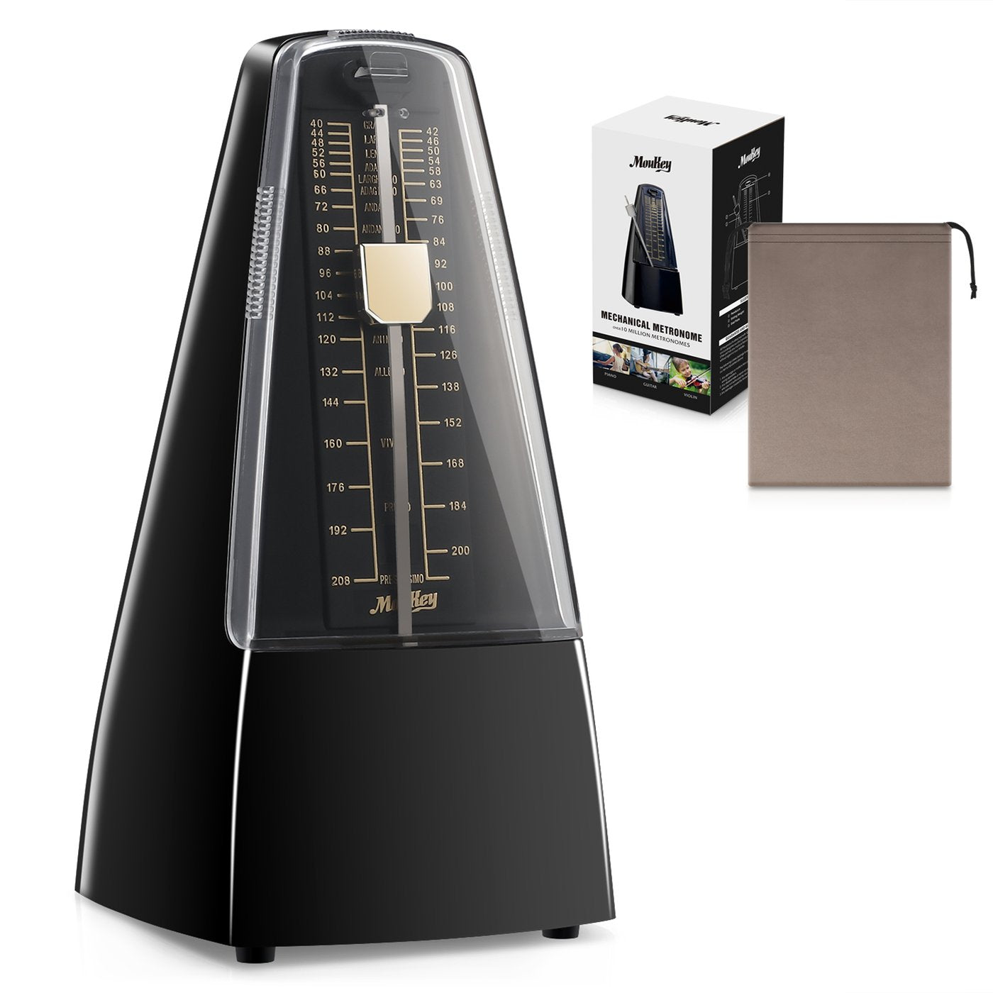 Moukey MPM-1 Mechanical Metronome Black/White/Red For Piano,Violin and Guitar