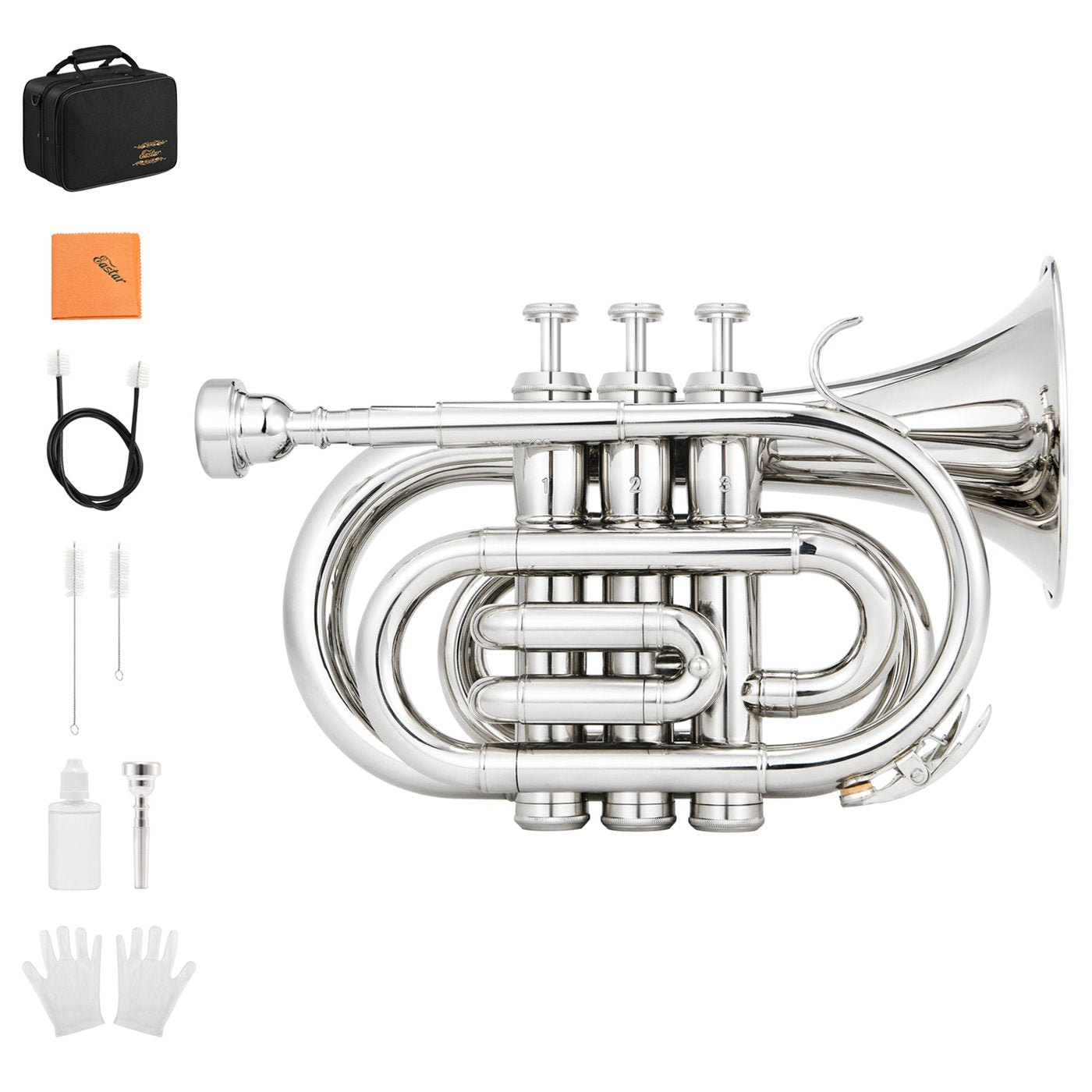 Eastar ETR-330N Standard Pocket Trumpet Bb Nickel Plated with Hard Case with kit