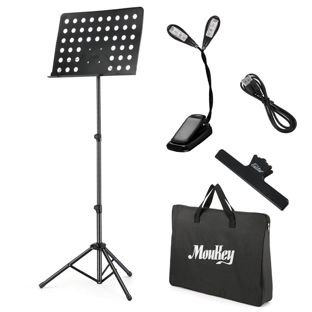 Moukey MMS-2 Metal Adjustable Sheet Music Stand With Stand Light & Carrying Bag