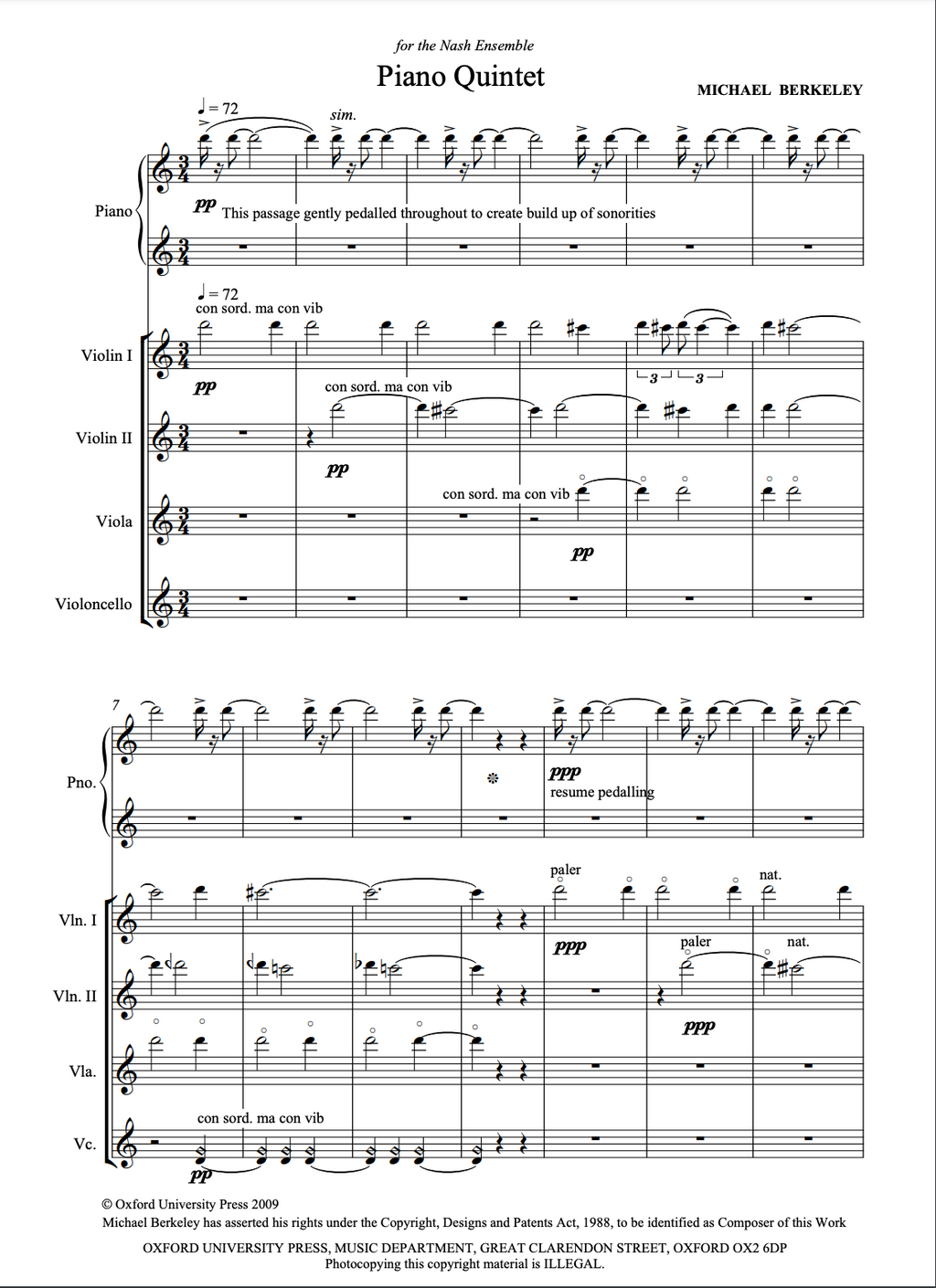Piano Quintet: Score and parts. Page 1