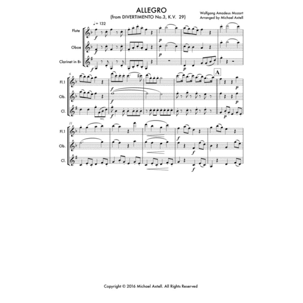 Allegro: From Divertimento No.3 K.v. 29 - Woodwind Sheet Music