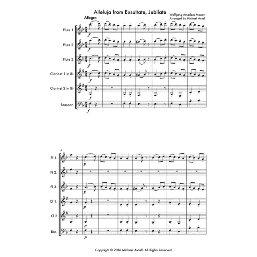 Alleluja From Exsultate Jubilate -Woodwind Sheet Music. A Woodwind ensemble of 3 Flutes, 2 Clarinets and 1 Bassoon.  COMPOSER: Wolfgang Amadeus Mozart.