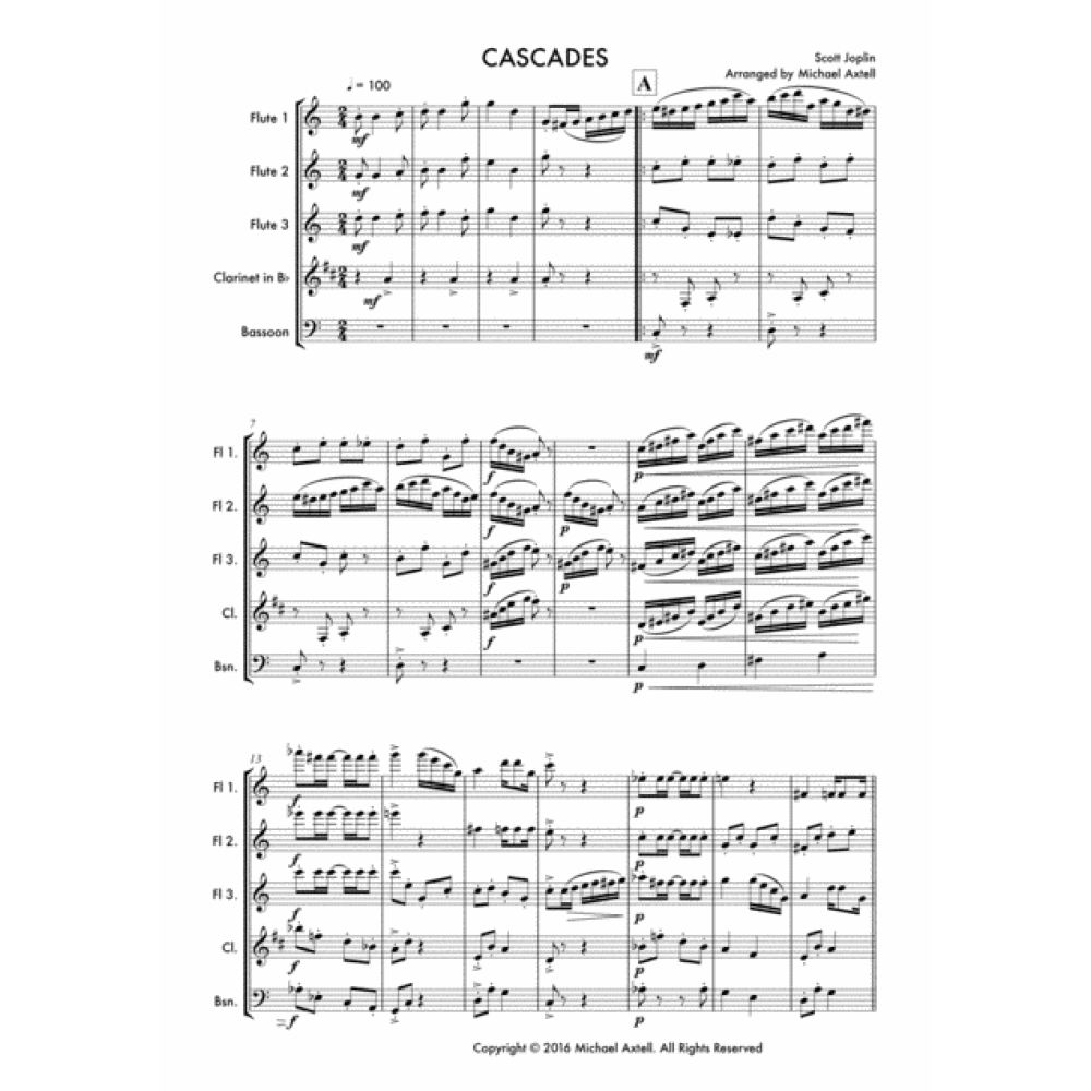 Cascades -woodwind  Sheet Music. Scott Joplin's Jazz Woodwind Trio arrangement for Flute, Clarinet and Bassoon.