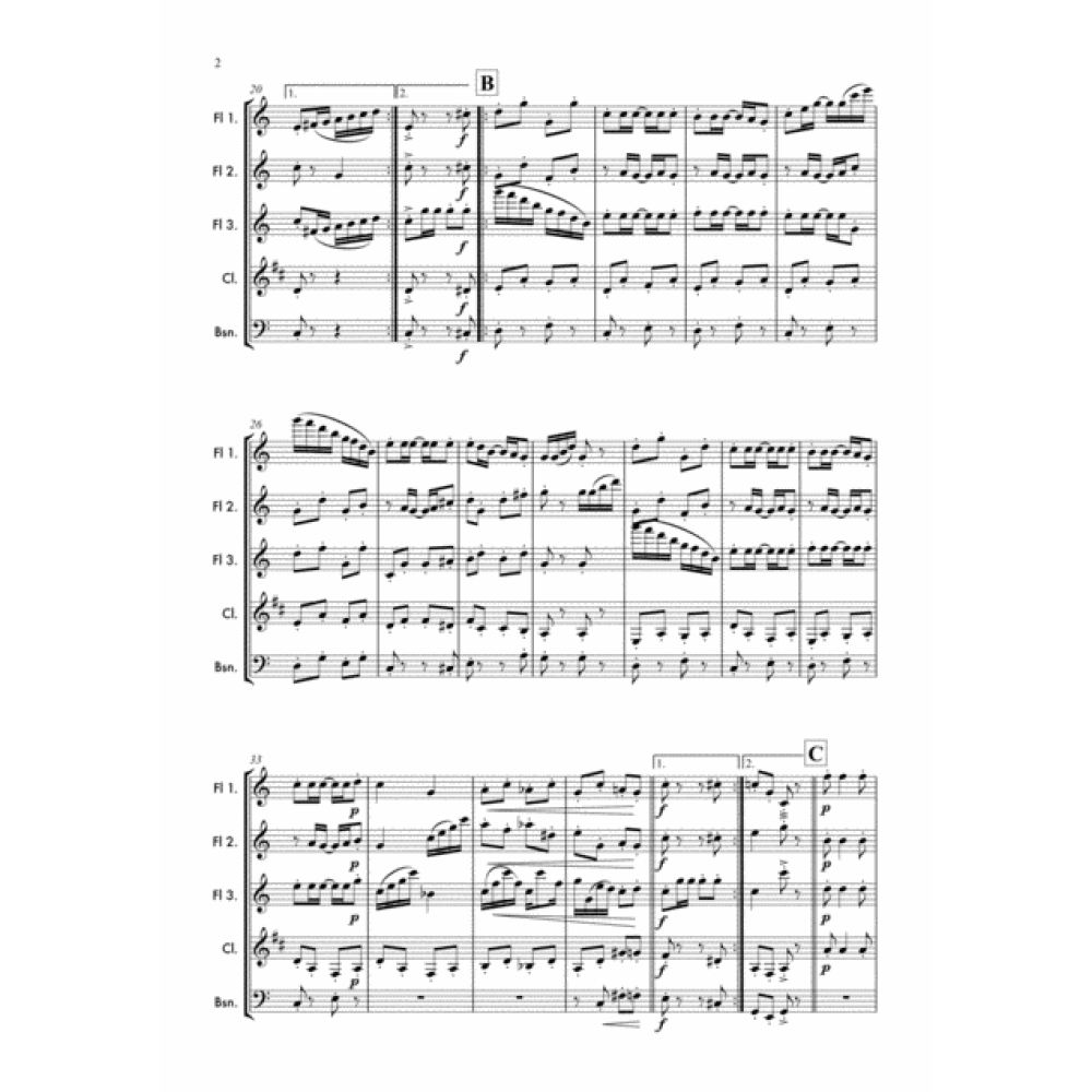 Cascades - Woodwind Sheet Music. Scott Joplin's Jazz Woodwind Trio arrangement for Flute, Clarinet and Bassoon.