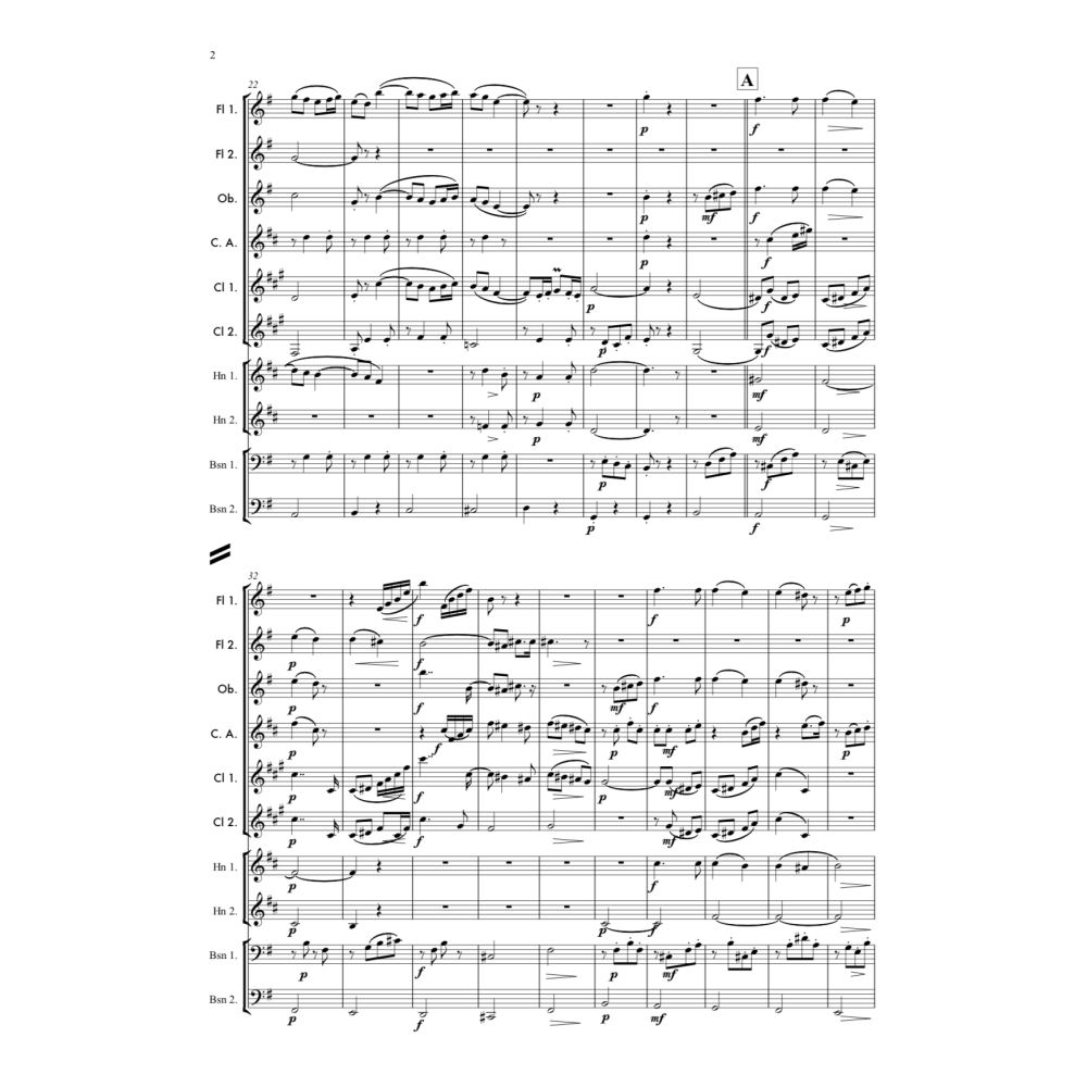 Wind Decet arrangement of Edward Elgar's Chanson de Matin, Op. 15, No. 2. Full score and Instrumental parts included. Parts of Flute, Oboe, Cor Anglais, Clarinet in Bb and Horn in F and Bassoon.