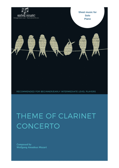 Preview: Theme of Clarinet Concerto - For Piano Cover page. Buy sheet music Here