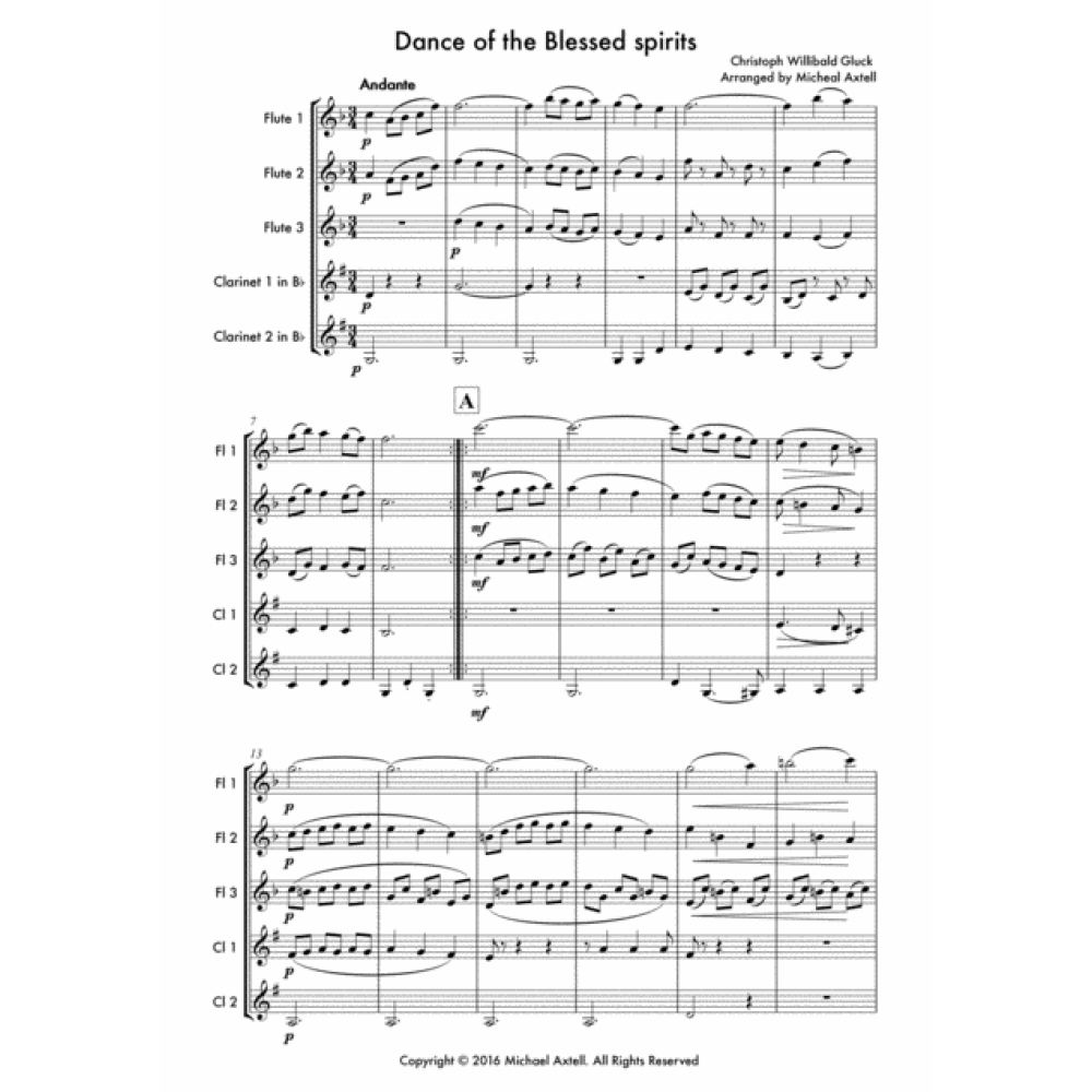 Dance Of The Blessed Spirits - Woodwind Sheet Music. Arranged for Woodwind Ensembles for 3 Flutes and 2 Clarinets. Full score and Instrumental parts included.