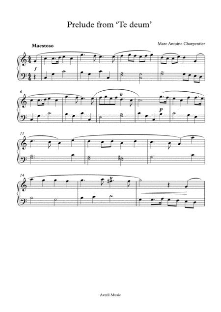 Prelude From 'Te Deum' Piano Sheet music page 1  from Axtell Music - Inspired To Uplift