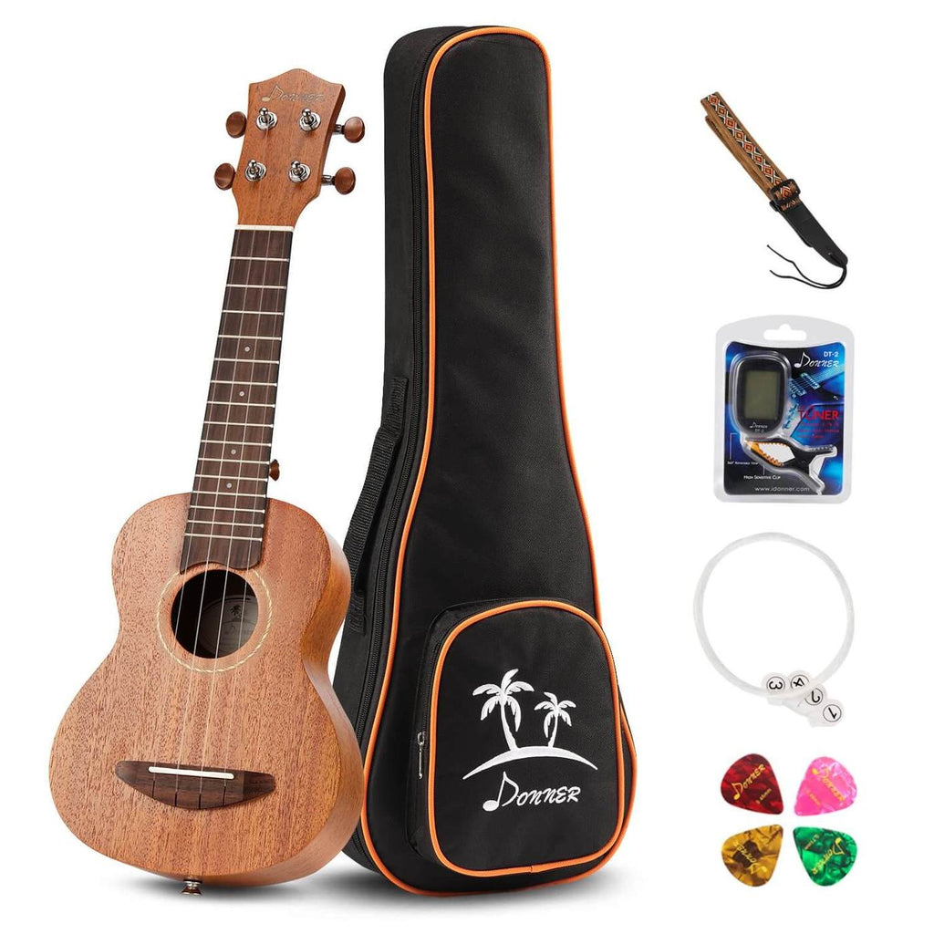 Donner Mahogany 21 inch Soprano Ukulele with Accessories