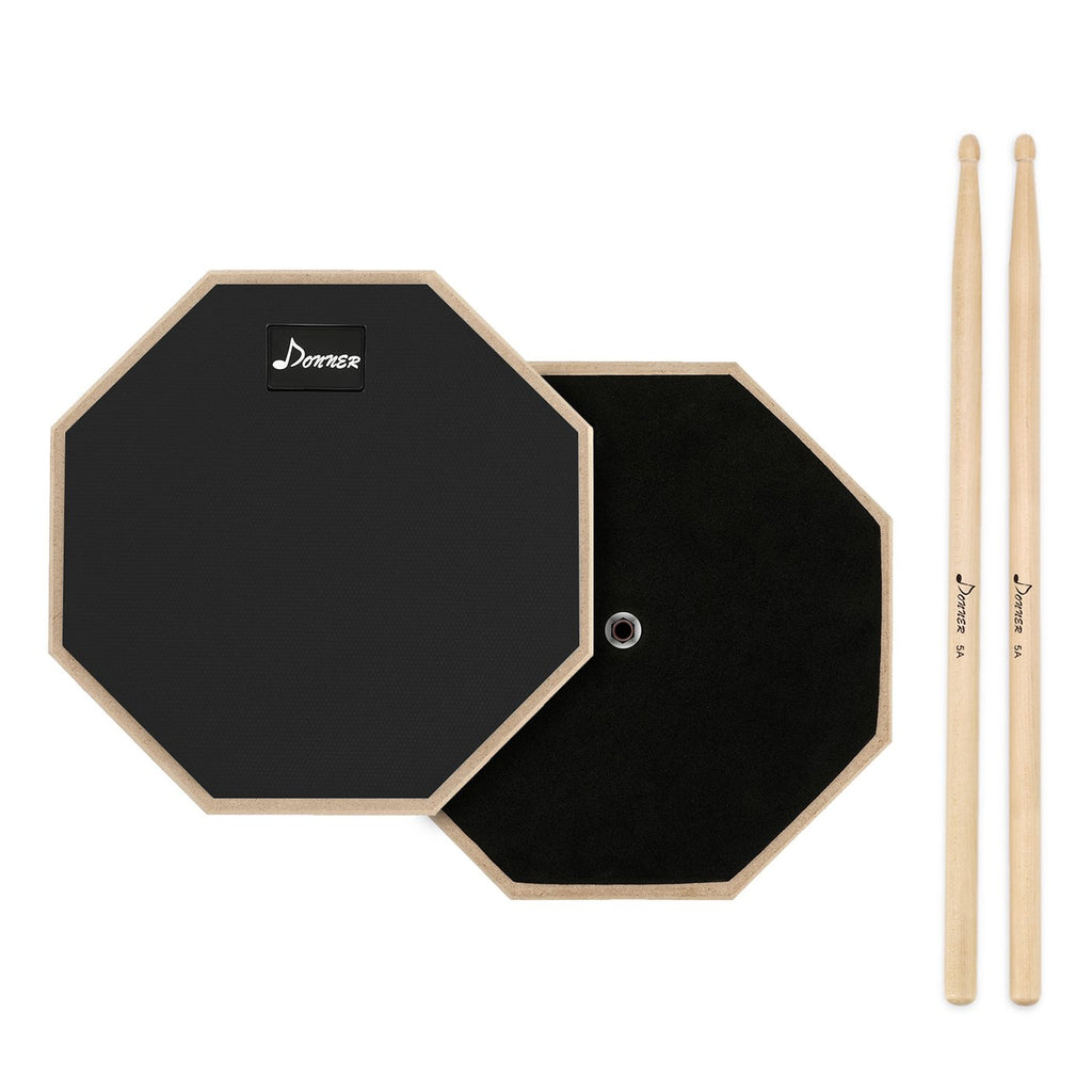 Black Donner 8 Inches Drum Practice Pad With Drum Sticks