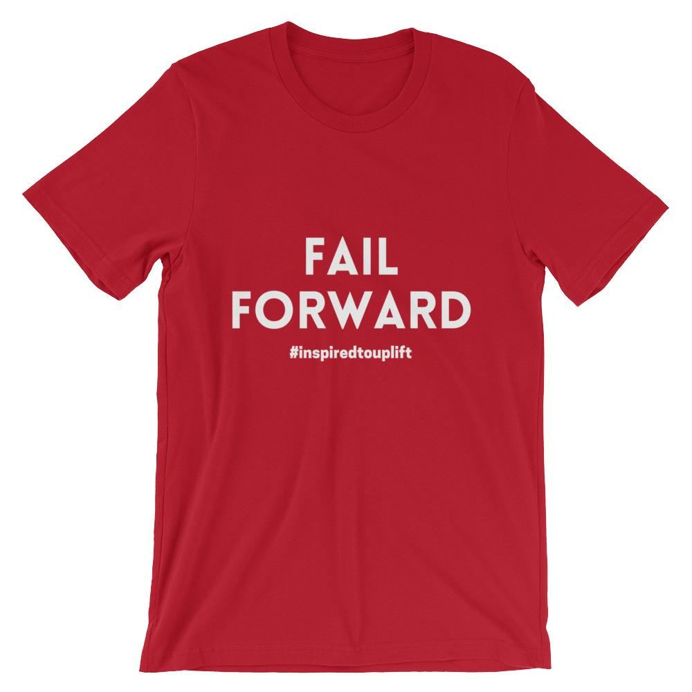 Fail Forward: Motivational Text T-shirt Red