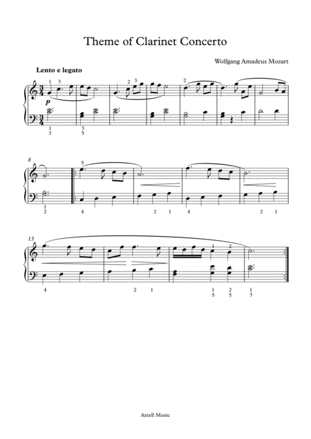 Preview: Theme of Clarinet Concerto - For Piano . Buy sheet music Here