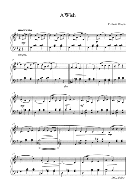 A Wish - Frédéric Chopin: Piano Sheet Music Page 1. Axtell Sheet Music