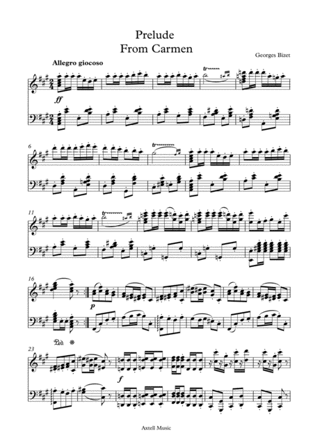 Prelude From Carmen - For Piano Sheet music instant digital Download from Axtell Music page 1