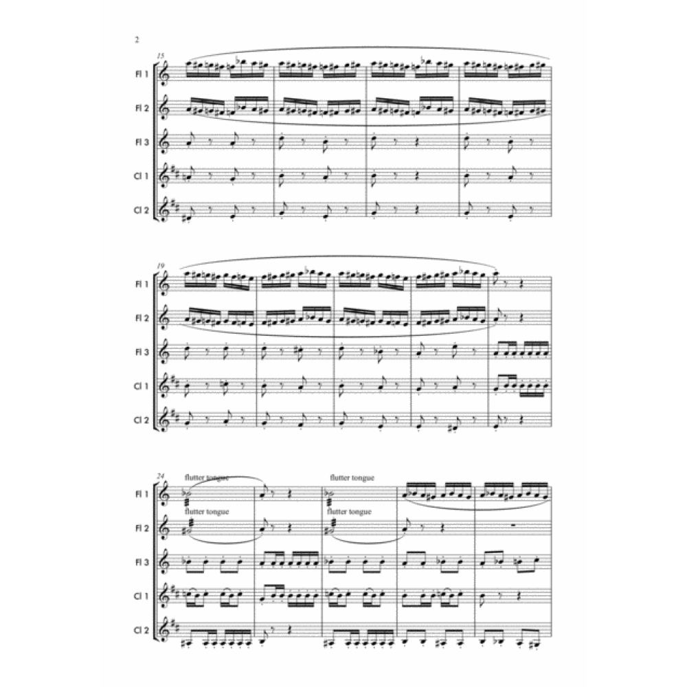 Flight Of The Bumblebee -Woodwind  Sheet Music.Woodwind ensemble arrangement for 3 Flutes and 2 Clarinets. Full score and Instrumental parts included.