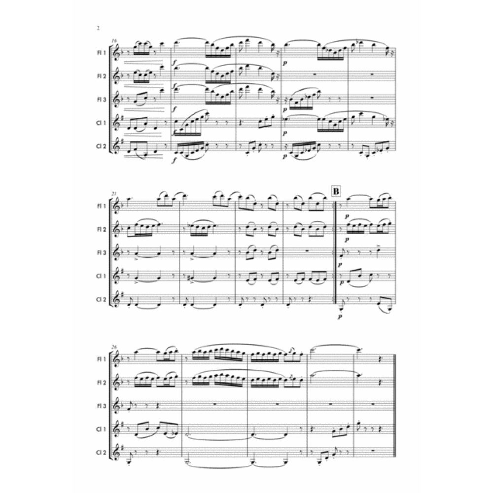 Flower Duet- Lakmé - Woodwind Sheet Music. Woodwind ensemble arrangement for 3 Flutes and 2 Clarinets. Full score and Instrumental parts included.