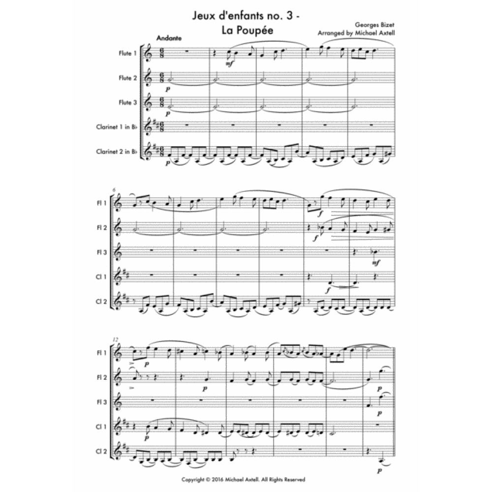 Jeux Denfants No. 3: La Poupée -Woodwind Sheet Music.A beginner Woodwind arrangement for 3 Flutes and 2 Clarinets.