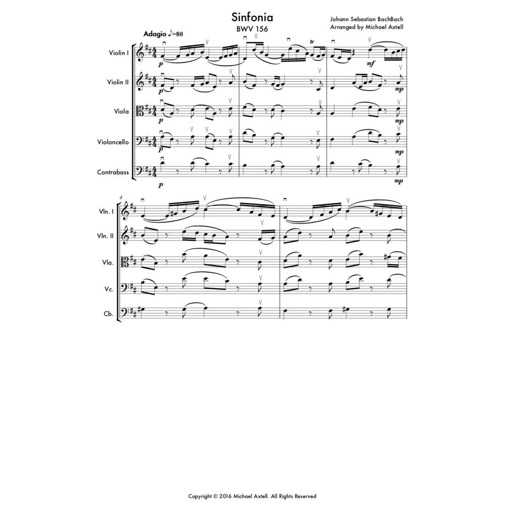 Sinfonia Bmv 156: String Quintet - Sheet Music