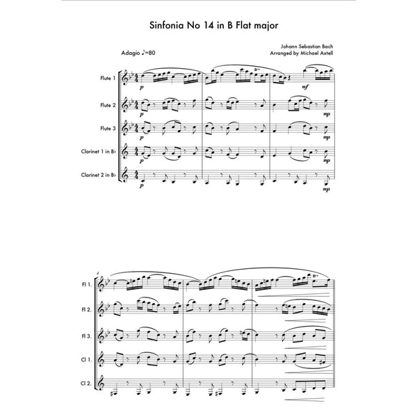 Sinfonia No 14 In B Flat Major - Sheet Music