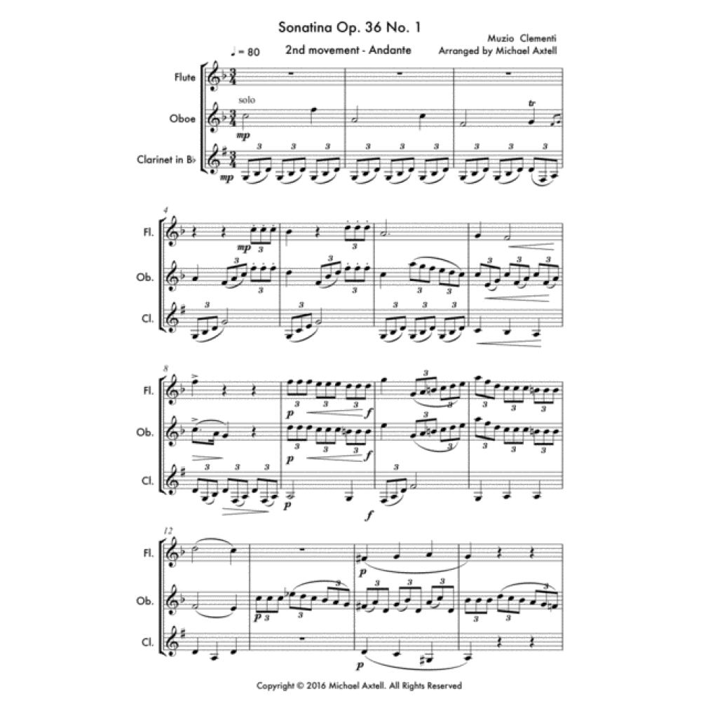 Sonatina Op. 36 No. 1 2Nd Movement: Andante - Sheet Music