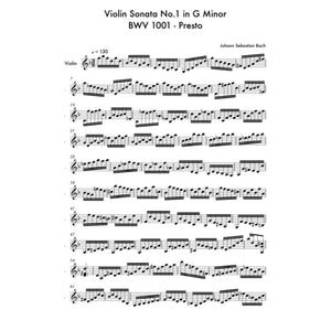 Violin Sonata No.1 In G Minor Bwv 1001 - Presto - Sheet Music
