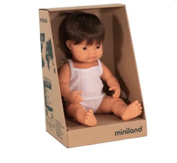 Miniland Anatomically Correct Baby Doll Caucasian Boy, 38 cm BRUNETTE