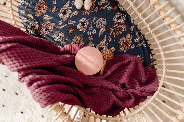Mauve | Diamond Knit Baby Blanket