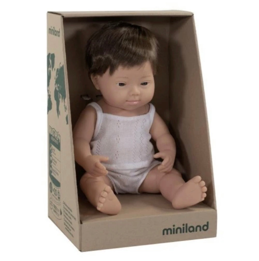 Miniland Anatomically Correct Baby Doll Caucasian Boy, 38 cm Down Syndrome
