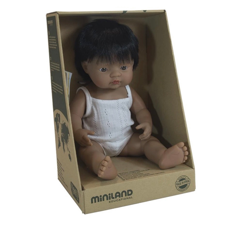 Miniland Anatomically Correct Baby Doll Hispanic Latin Boy, 38 cm