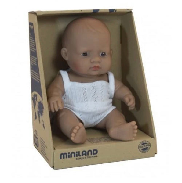 Miniland Anatomically Correct Baby Doll Hispanic Latin, 21 cm