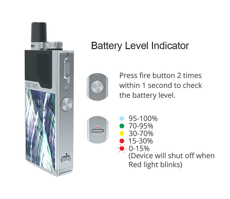 Lost  Vape Orion Batter Level Indicator Guide