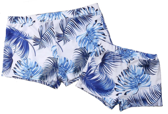 Blue Palm Swimming Trunks - Matching Dad & Kids - Seperate
