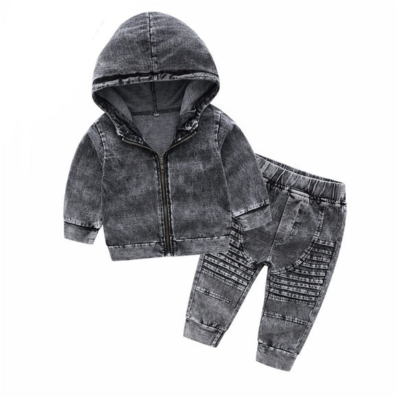 Street Denim hoodie and pant set - Stonewash