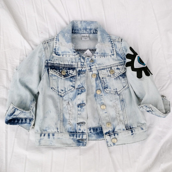 Distressed acid wash denim jacket - nixonscloset